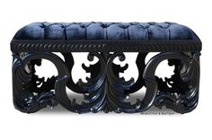 The Simone Bench finished in black lacquer and black velvet. Additional seating for two.