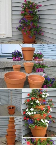 Ideas for small gardens --> For the front porch next to the door. Bright flowers