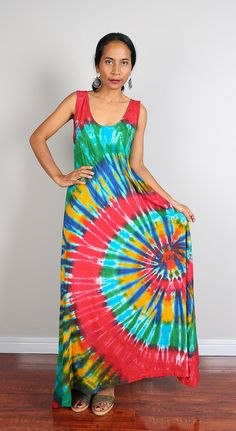 Rainbow Maxi Dress / Long Sexy Tie Dye Cotton Maxi Gown by Nuichan