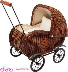 #carritosdemuñecas Carritos de muñecas antiguos - Cochecito canastero marrón 8762