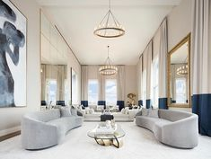 Majestic Grey And Blue luxury living room decor with grey curved sofas, glam grey and blue living room with oval sofas, curved sofa, vladimir kagan curved sofa replica Interior Exterior, Living Room Interior, Interior Design Living Room, Living Room Designs, Living Room Decor, Luxury Home Decor, Luxury Interior, Curved Sofa, Piece A Vivre