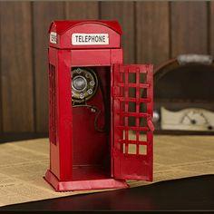 Artesanía de Metal reino unido London Street dibujado a mano de chapa de hierro cabina telefónica pintado modelo de juguete de Metal la decoración del hogar decoración(China (Mainland))
