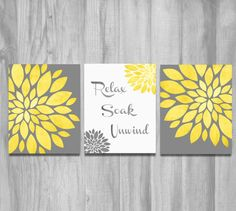 Set of 3 PRINTS or CANVAS - choose what you want in the drop down menu - shown in yellow & grays with a vintage/rustic textured look. Two flower prints and Relax Soak Unwind. Beautiful art for the bathroom! SIZES Prints are professionally printed IN-HOUSE on high quality, archival ultra-pro satin photo paper with pigmented inks. Prints are brilliant, crisp and beautiful! And will last a lifetime and beyond ;) PRINTS: Prints are professionally printed on high quality, archival ultra-pro s...