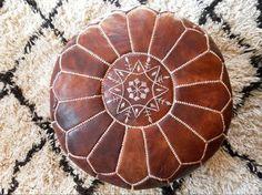 Vintage Tan Leather Moroccan Ottoman Pouf Pouffe