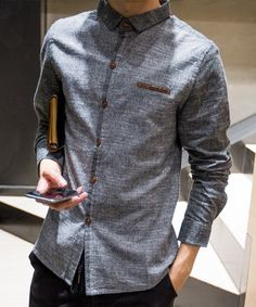 Slim Fit Turn-down Collar PU Leather Spliced Special Button Fly Full Sleeves Pinstripe Shirt For Men