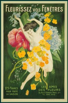 A vintage poster advertising Les Ami Des Fleurs (the friends of flowers), 1921. The idea is (essentially) to persuade shop owners to decorate their windows with flowers and foliage.