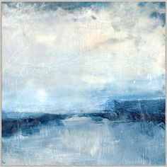 This is an artist enhanced reproduction on canvas. This vibrant abstract landscape has rich cobalt and ultramarine blues contrasting earthy whites. This abstrac