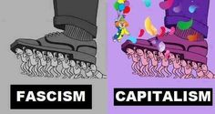 In theory, capitalism works just fine. Same with fascism. The problem in this nation is that a few have taken capitalism to an unsubstainable extreme at the expense of millions of others and the corruption of the system Anti Capitalism, Social Democracy, Communism, Spot The Difference Games, Liberal Feminism, Social Practice, Political Art, Political Memes, Political Cartoons