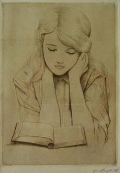 Girl reading, 1915 by Jan Heyse born September 16, 1882 in Zierikzee, The Netherlands died February 4, 1954 (71) in Middelburg, The Netherlands