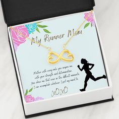 This necklace is a heartfelt gift to show your runner mother how much she means to you. The necklace is available is silver and gold with prices starting at $39.95. The message card says: mother with every mile you inspire me with your strength and determinatio. You show me that even in the difficult moments I can accomplish whatever I put my mind to. #runningmomnecklace #uniquegiftforrunnermom #womanrunnergift Gifts For Runners, Message Card, Beautiful Necklaces, Gifts For Mom, Love Her, Law, Strength, Inspire, Messages