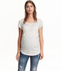 MAMA V-neck Jersey Top | Light gray melange | Ladies | H&M US