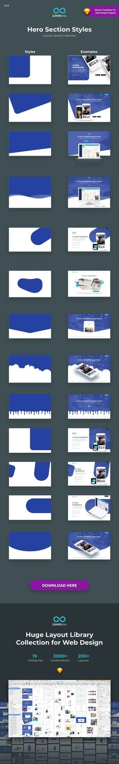Limitless is a Huge Layout Collection and UI Kit Library for Web Design Projects. - Limitless is a Huge Layout Collection and UI Kit Library for Web Design Projects that contains a gr - Layout Design, Graphisches Design, Website Design Layout, Web Layout, Logo Design, Header Design, Web And App Design, Web Design Tips, News Design
