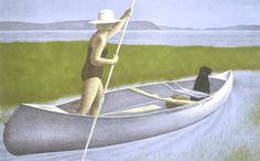 Woman, Dog and Canoe, 1982 by Alex Colville (Alex Colville/AC Fine Arts)