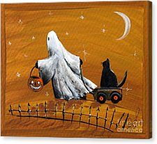 Halloween Ghost With Black Cat Canvas Print by Sylvia Pimental