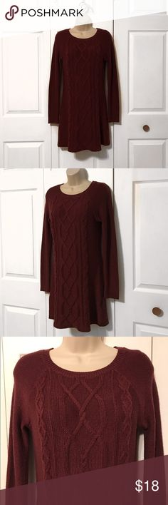 Hollister Burgundy Sweater Dress! PRICE FIRM Only worn twice! No damage! It's form fitting and perfect for winter! It also looks GREAT with leggings! The fabric is 55% cotton and 45% acrylic! This dress is also 32 inches from shoulders to the end and the sleeves are 19 inches from armpit area to the end of the sleeve. Let me know if you have any questions(: I can ship next day Hollister Dresses Midi