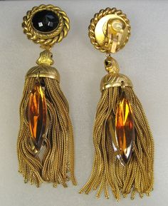 Huge 1980's Butler & Wilson gilt earrings with yellow glass stones and gilt tassells.  Photographed by Gillian Horsup.  Sold by www.gillianhorsup.com