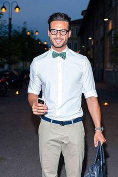 Men's White Dress Shirt, Grey Chinos, Blue Leather Tote Bag, Green Polka Dot Bow-tie