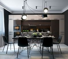 lámpara negra en el comedor moderno