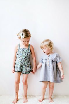 Cotton dresses and rompers. Everyday staples for little girl styles. // Schoolgirl hair bow by Free Babes Handmade.