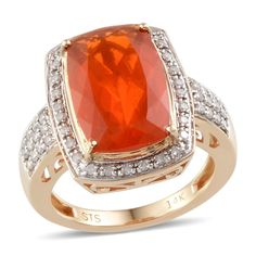 14K Yellow Gold Jalisco Fire Opal and Diamond Ring | Liquidation Channel