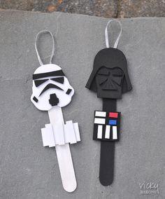 DIY Star Wars Popsicle Stick Christmas Tree Ornaments
