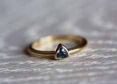 Sapphire Engagement Ring Trillion Sapphire Ring by MinimalVS