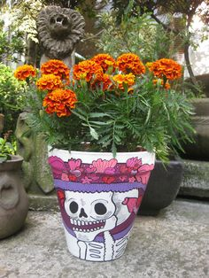 Mexican Flower pots for the day of the dead, hand painted!!