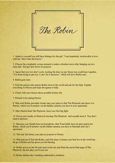 Last page of the Barney's Playbook. The Robin. #HIMYM