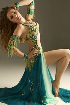 Green and Gold Belly Dance Costume