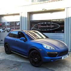 Instagram media by yiannimize - Porsche Cayenne Wrapped in satin blue for @gumballteam57 #porsche #cayenne #satinblue #yiannimize