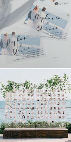 chic custom photo beach wedding invitation with digital printing vellum paper layered SWVL004 #wedding#weddinginvitations#stylishwedd#stylishweddinvitations #vellumweddinginvitations#photoweddinginvitations