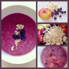 """""""Apple, blueberry & oatmeal puree [6m+] yummy doing purple those days hehe U need: 1 Sweet apple 1 cup of blueberries 1 cup of oatmeal 1. Boil…"""""""