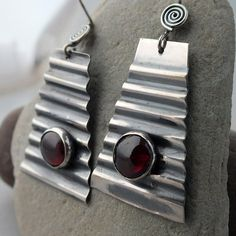 Garnet and Corrugated Sterling Silver by MetalworksJewelry on Etsy, $58.00