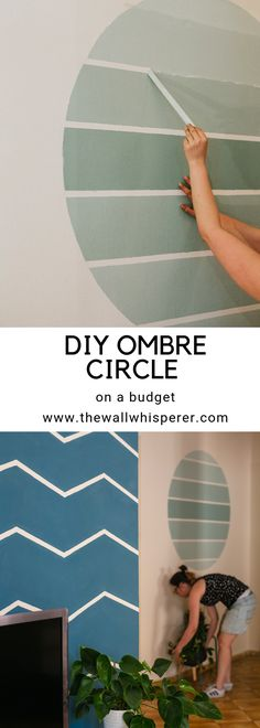 How to make a DIY ombre accent wall. Treatment Projects Care Design home decor Diy Wall Art, Diy Wall Decor, Diy Home Decor, Boho Decor, Diy Ombre, Ombre Paint, Circle Painting, Turquoise Walls, Easy Wall