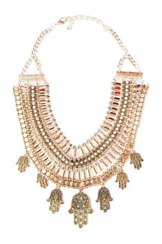 """This is called a statement piece for a reason! This gorgeous gold hamsa layered necklace can be dressed up or down for an elegant and classy look.    Measures approx. 14"""" in length.   Hamsa Statement Necklace  by Glam Squad Shop. Accessories - Jewelry - Necklaces - Statement Necklaces Las Vegas"""