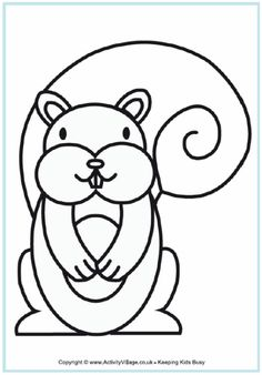 2013 - 2012 - Squirrel colouring page for younger children