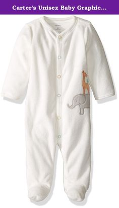 Carter's Unisex Baby Graphic Terry Footie (Baby) - Giraffe - 6 Months. Carter's Graphic Terry Footie (Baby) - Giraffe Carter's is the leading brand of children's clothing gifts and accessories in America selling more than 10 products for every child born in the U.S. Their designs are based on a heritage of quality and innovation that has earned them the trust of generations of families. Features Snaps from ankle to chin. Nickel-free snaps on reinforced panel. Animal applique art.