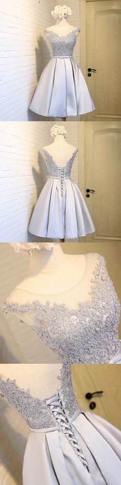 Lace Appliqued Silver Satin Short Prom Dresses,2017 Hoco Dresses,It can be made in other colors,you can contact with us when you want other colors. - How about is the dress? 1.Silhouette:A-line 2.Fabr #shortpromdresses