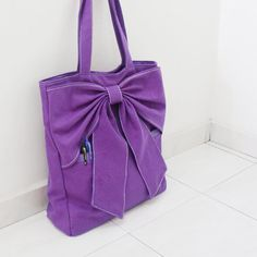 QT Canvas Tote in Purple - Double Straps Shoulder Bag