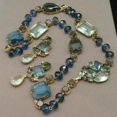Monet Necklace & Earrings Set with Large Blue & Green Stones