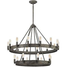 Urban Industrial Double Ring Chandelier 758 26X32