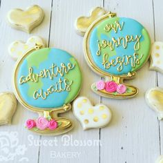 Loving these sweet globe cookies! Wouldn't they make the cutest wedding favors?…