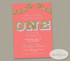 Coral, Turquoise & Gold Glitter First Birthday Invitation — Shy Socialites