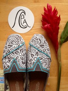 I'm obsessed with these shoes! Hand painted Henna TOMS by CEA 2.0 by ChristinaEvertArt on Etsy, $89.00