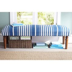 Styled in a wonderful blue and white stripe pattern, this bench has a traditional look that would be a great addition to your home.