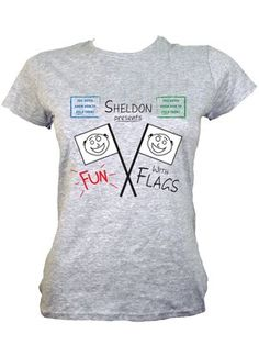 Sheldon Presents Fun With Flags Ladies Grey T-Shirt Inspired by The Big Bang Theory