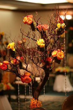 Wedding, Reception, Red, Orange, Brown, Yellow...but no dangling crystals.