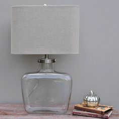 Curved Table Lamp And Linen Shade