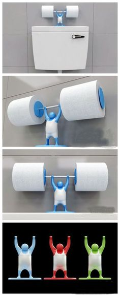 Is your toilet paper holder strong enough for the job?- Is your toilet paper holder strong enough for the job? Is your toilet paper holder strong enough for the job? Funny Toilet Paper Holder, Toilet Paper Humor, Toilet Roll Holder, Unique Toilet Paper Holder, Objet Wtf, Cool Inventions, Kitchen Gadgets, Bathroom Gadgets, 3d Printing