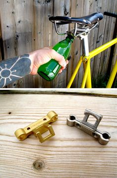Under the saddle bottle opener. Install yours today, please. It's unsafe to ride without.